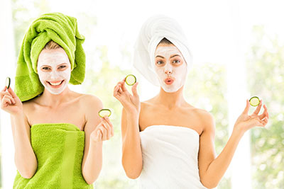 Women using facemasks